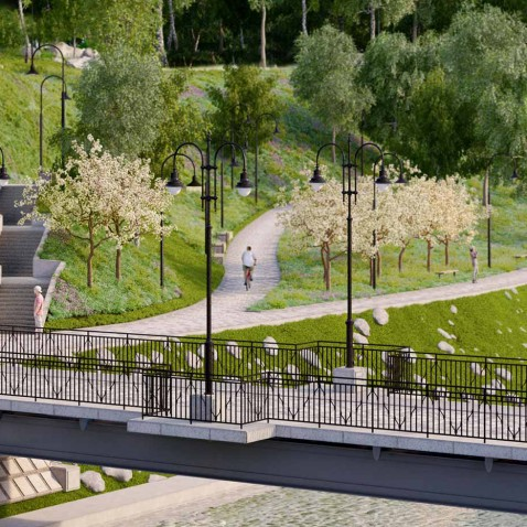 Vilnia river projects, public realm, landscape architecture