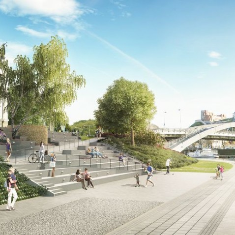 Neris river banks, landscape architecture, public realm, green infrastructure